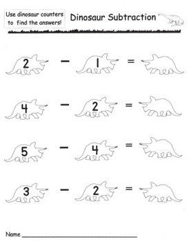 kindergarten dinosaur subtraction math activities the o 39 jays and teaching. Black Bedroom Furniture Sets. Home Design Ideas