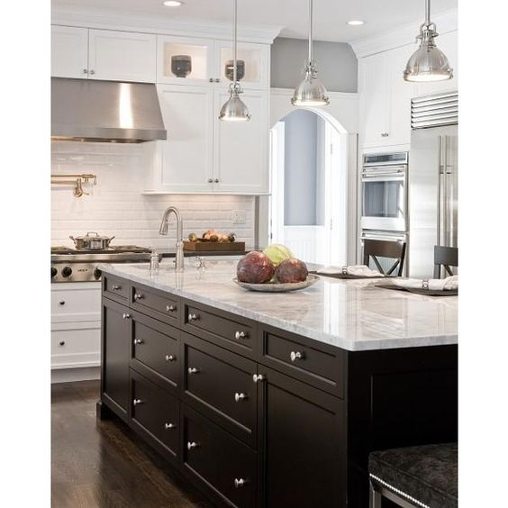 Kitchens gray walls white shaker kitchen cabinets black granite counter tops ebony kitchen - White kitchen with dark island ...