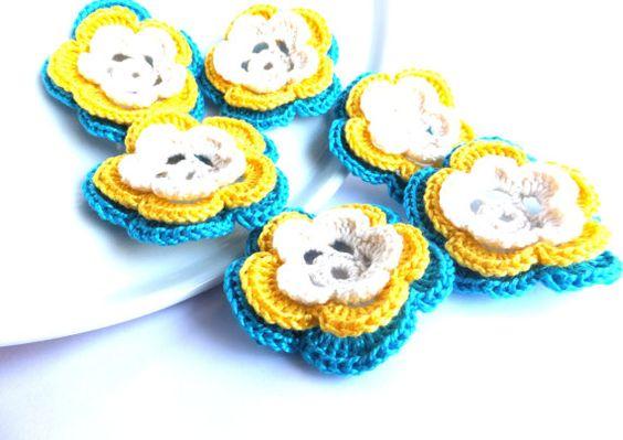 CIJ SALE Crocheted flowers applique scrapbooking by eljuks on Etsy, $9.00