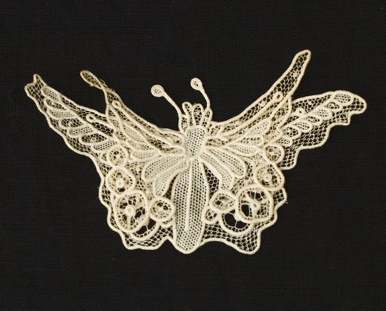 Handmade needle lace butterfly -  c.1900