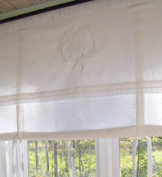 Raff Gardine Amalie Weiss Rollo 140x100 Cm Bestickt Monogramm Shabby Vintage Landhaus Gardinen Gardinen Set Gardinen Landhausstil