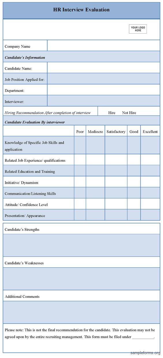 HR Interview Evaluation Form u2026 Pinteresu2026 - candidate evaluation form