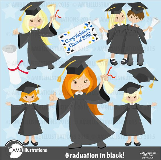 Graduation Girls in black gowns Clipart, | Graduation Party ...
