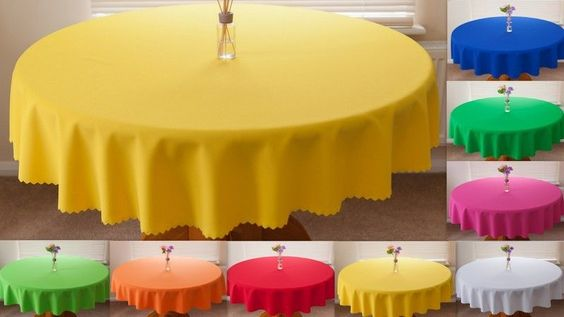 High Quality Fabric  PLAIN  Tablecloth 100%Polyester  avail. 8 sizes in 30 col.