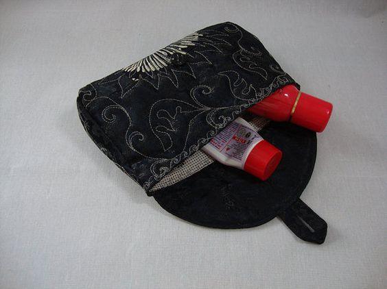 Purse, Make-up Bag, Handbags Kit, Cosmetic Bag, Black, Universal, Handbag for small things, Button up, Pocket, Soft, Silk, Quilt