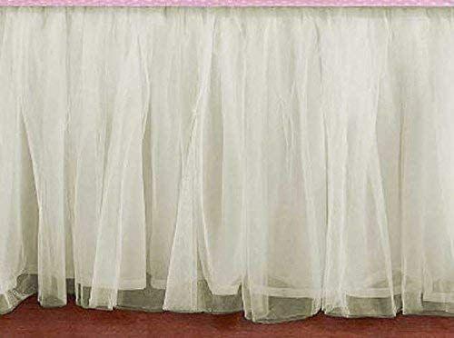 Amazon Com Bedskirt Ruffle Cream Ivory Off White Tulle Bed Skirt Any Size Detachable Option Handmade Tulle Bedskirt Bedskirt Ruffle Crib Skirt