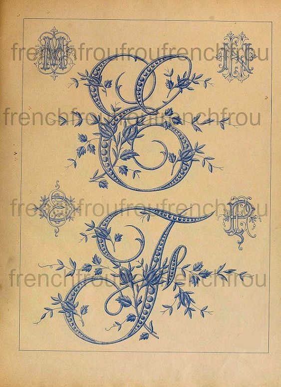 Antique victorian french alphabet rosebuds embroidery