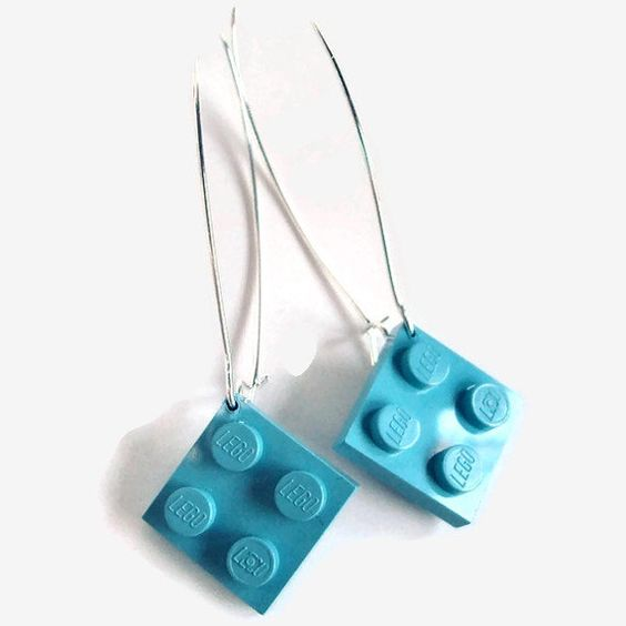 Elegant Drop Earrings made with Light Blue Lego