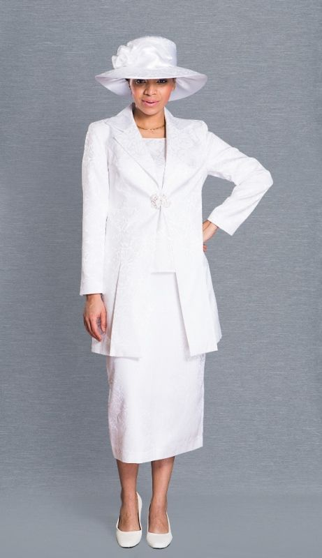 White 2 Pc Clarissa Womens Dress Suit Perfect for Church - Suits