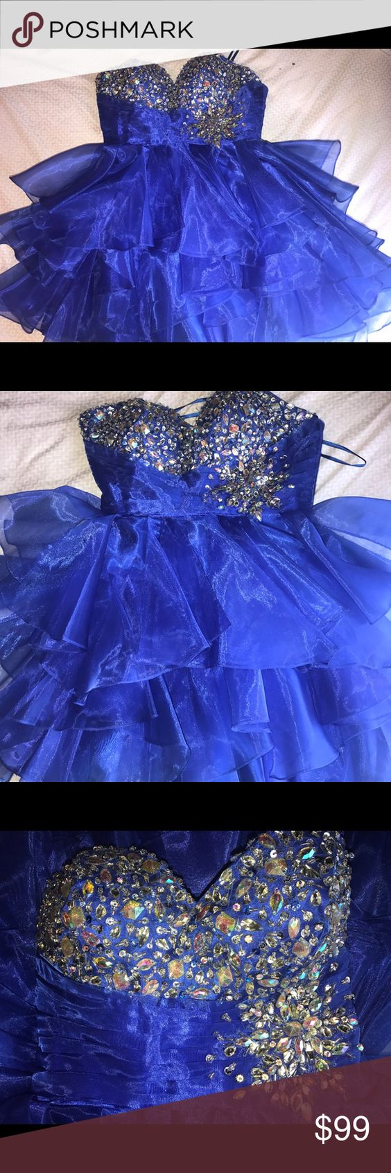 Royal blue short homecomingprom dress