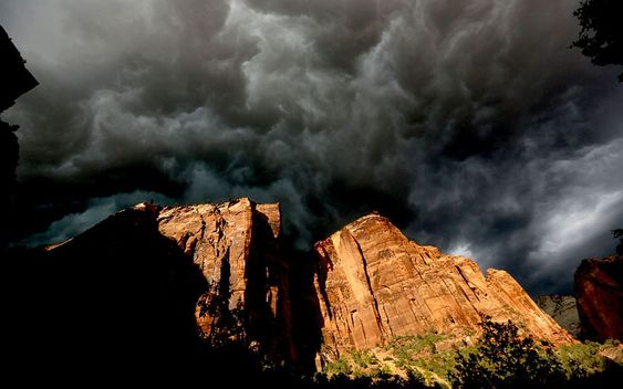 A fast moving storm makes its way through Zion National Park outside of Springdale, Utah.