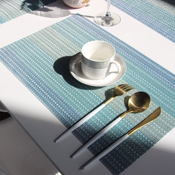 Bright Dream Placemats Washable Easy To Clean Pvc Placemat For Kitchen Table Heat Resistand Woven Vinyl Hard Table Mats Placemats Blue Placemats Kitchen Table