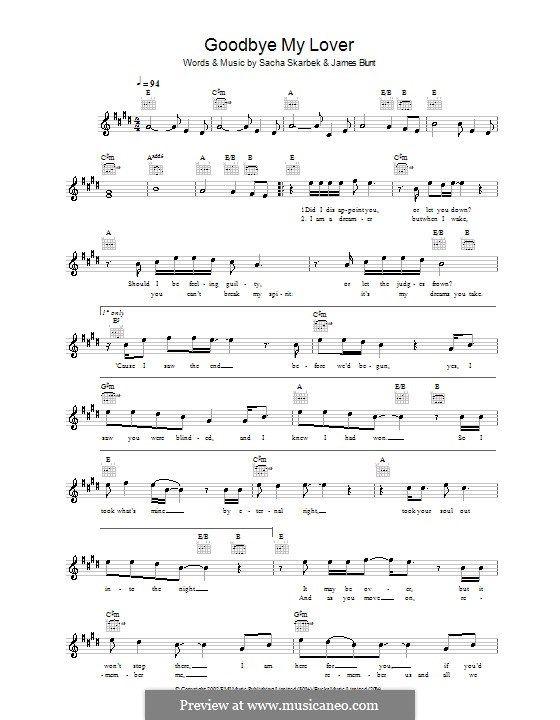 Goodbye My Lover By James Blunt S Skarbek