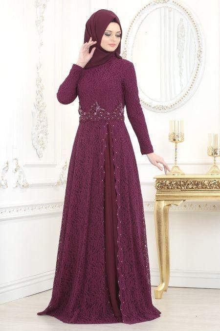 Tesetturlu Abiye Elbise Tesetturlu Abiye Elbise Dantelli Murdum Teset Tesettur Modelleri 2020 Di 2020 Model Pakaian Muslim Model Baju Wanita Model Pakaian