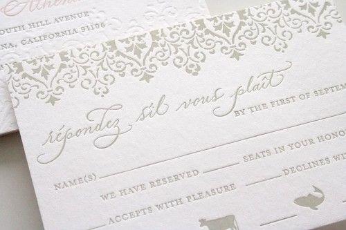 pink + gray wedding invites by Parrott Design Studio