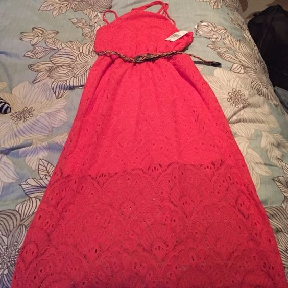 Maxis dress Brand New Beautiful lace , maxis dress, has a built in skirt(slip) that comes to or above you knees ! Comes with belt! Spring is right around the corner! City Triangles Dresses
