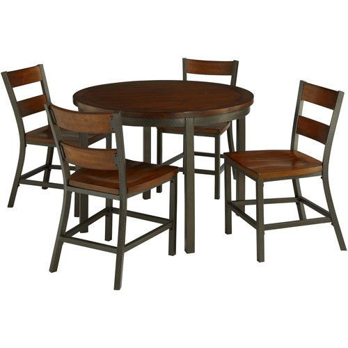 5 Piece Dining Round Table Chairs Set Industrial Metal Retro Furniture Brown Kit 596 76end Da Round Table And Chairs Dining Room Sets Dining Table In Kitchen
