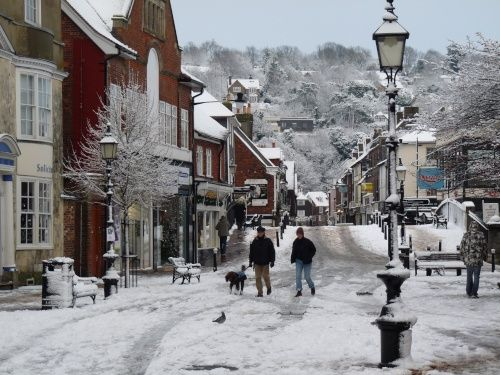 Cliffe High Street in Lewes , Sussex, UK, looks like a Christmas card