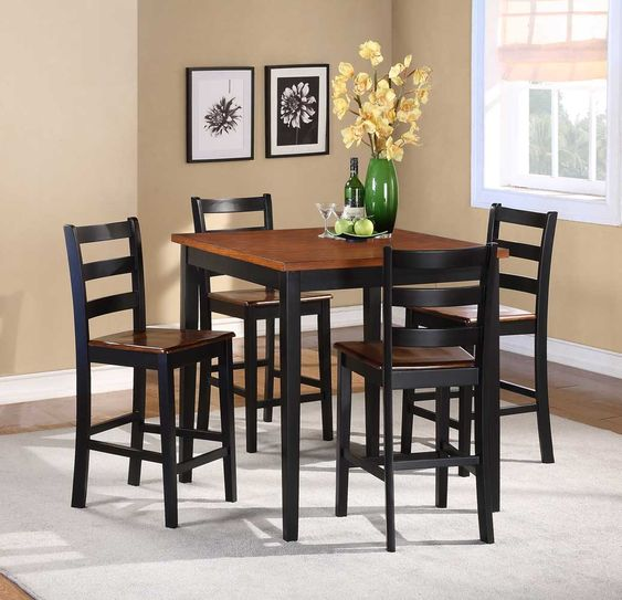 Homelegance Lynn 5-Piece Counter Height Dining Set - Black and Oak two-tone finish.