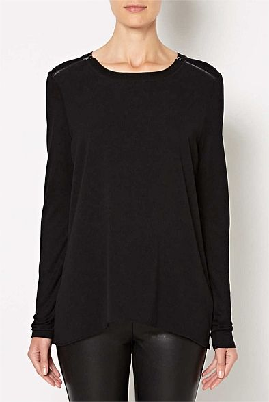 Women's Tops, Tees & T-Shirts - Witchery - Longsleeve Woven Zipper Front Tee