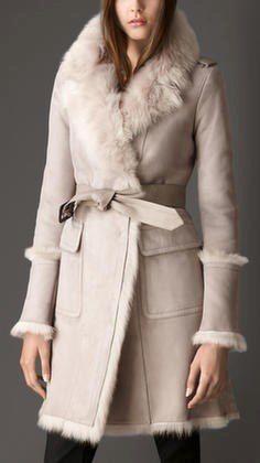 burberry revere collar shearling coat: Lucky Magazine
