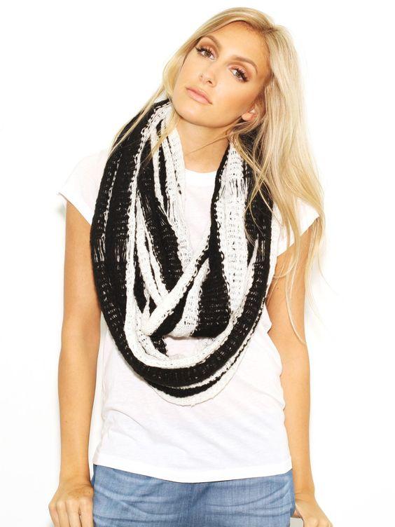 Paula Bianco Stripe Infinity Scarf in Black/White