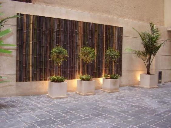 Revestimiento exterior con tacuaras revestimientos pared - Paisajismo jardines exteriores ...