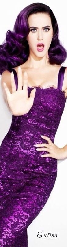 ♡♥ღ .¸¸.•*¨*•ƸӜƷ Katy Perry in purple. For more great pins go to @KaseyBelleFox ❁❀MC19❁❀ ♡♥
