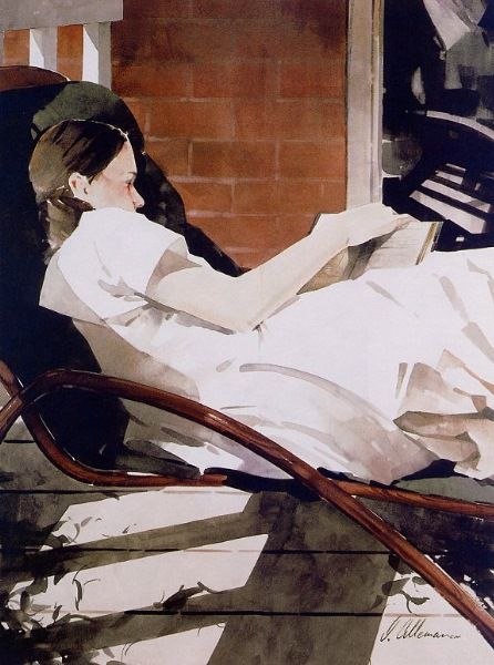 so unusual: great use of watercolour: so much white paper and an interestng composition. I love the merest glimpse of the girl's profile :almost a white silhouette against the dark chair. Masterful! Joseph Alleman