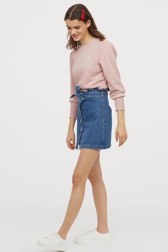 Paperbag Rock Aus Denim Blau Ladies H M De In 2020 Hm Outfits Modestil Mode