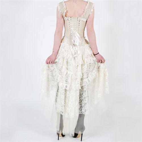 Ophelie dress - lange victoriaanse gothic jurk met corset en kant