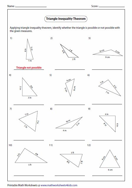 Triangle Inequality Worksheet: Pictures Triangle Inequality Worksheet   Kaessey   Triangle    ,