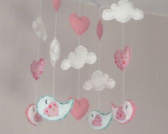 Bebé móvil cuna móvil pájaro móvil Mobile Cloud por EllaandBoo