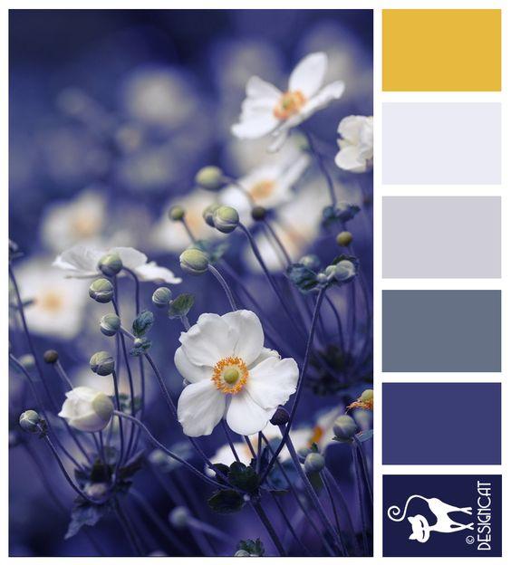 Japanese Anemones - Blue, Royal, slate, dusky, mustard yellow - Designcat Colour Inspiration Pallet