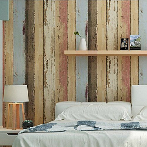Birwall vintage weathered wood panel wood plank wallpaper for Wood wallpaper bedroom