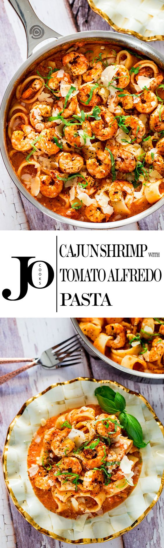 Cajun Shrimp with Tomato Alfredo Pasta - a one pot dish of a simple and delicious tomato Alfredo sauce tossed with your favorite pasta and pan seared cajun shrimp.