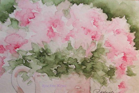 watercolor art   Pink Floral Watercolor Painting
