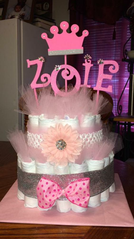 Baby girl diaper cake. Princess diaper cake. Pink and gold diaper cake