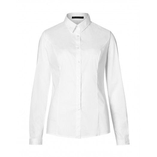 Camicia maniche lunghe, in popeline stretch, taglio maschile.5ZN65Q0K6 WHITE
