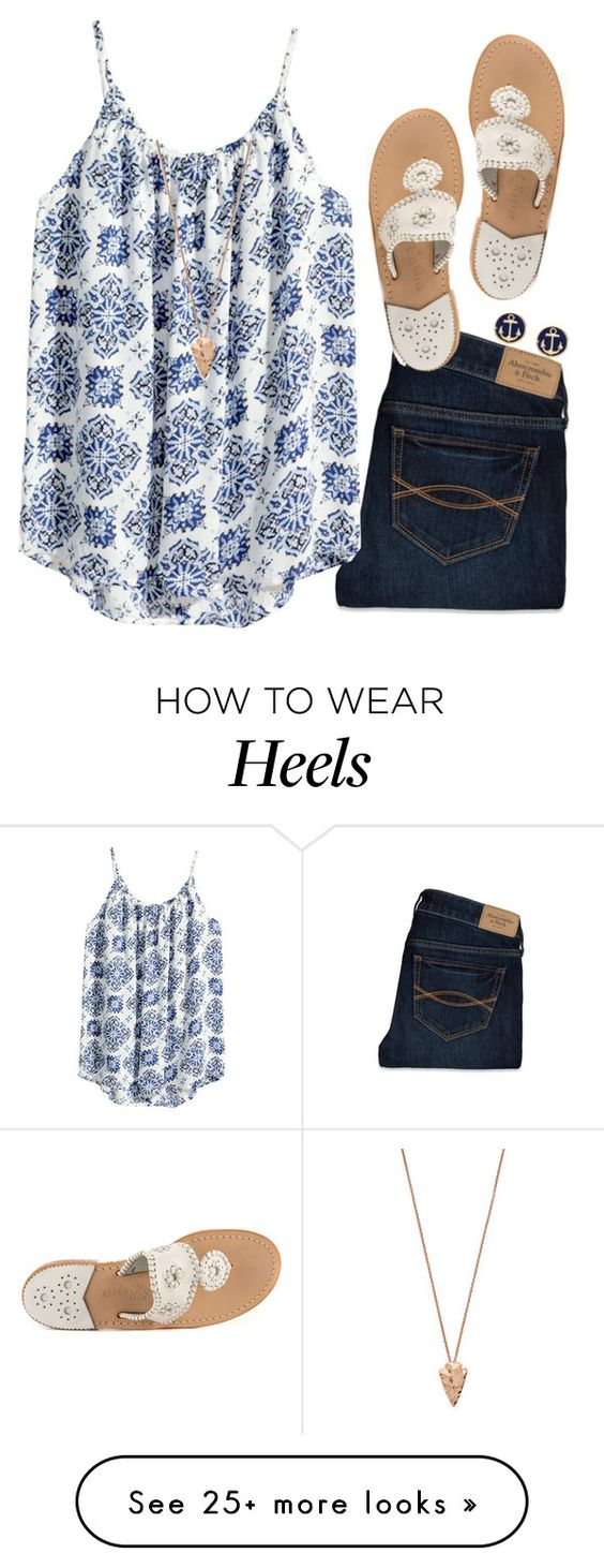 """Read D!"" by gourney on Polyvore featuring Abercrombie & Fitch, Jack Rogers, H&M, Brooks Brothers and Pamela Love"