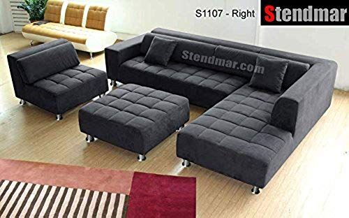 Awe Inspiring Buy Stendmar 4Pc Modern Dark Grey Microfiber Sectional Sofa Machost Co Dining Chair Design Ideas Machostcouk