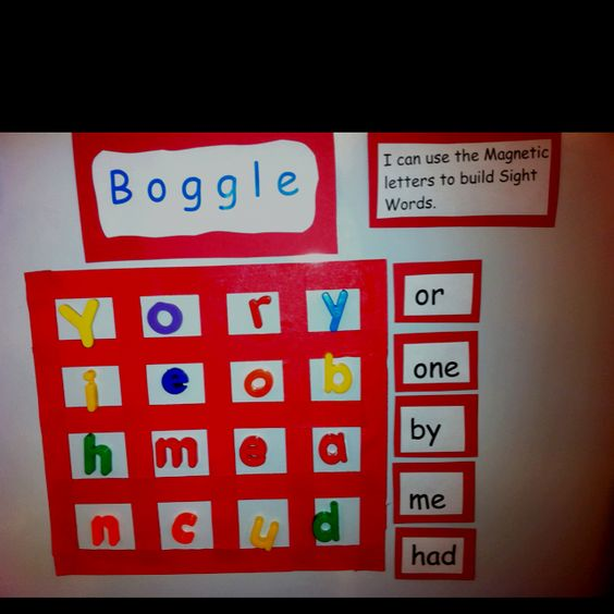 Boggle for kindergarten sight words. Love it would be great for the side of my filing cabinet!
