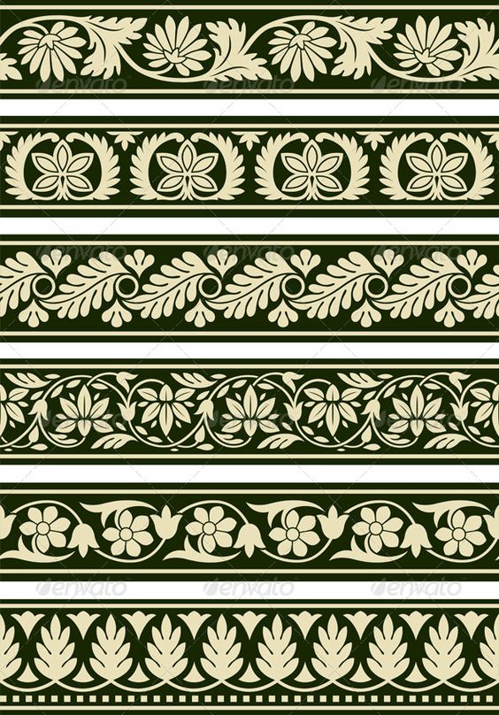 Floral border graphic prints and graphics on pinterest for Classic border design