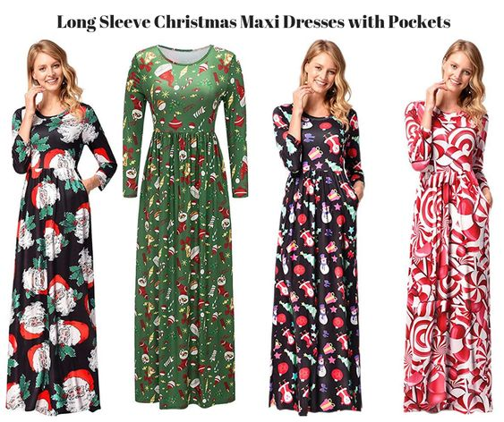 Long Sleeve Christmas Maxi Dresses with Pockets