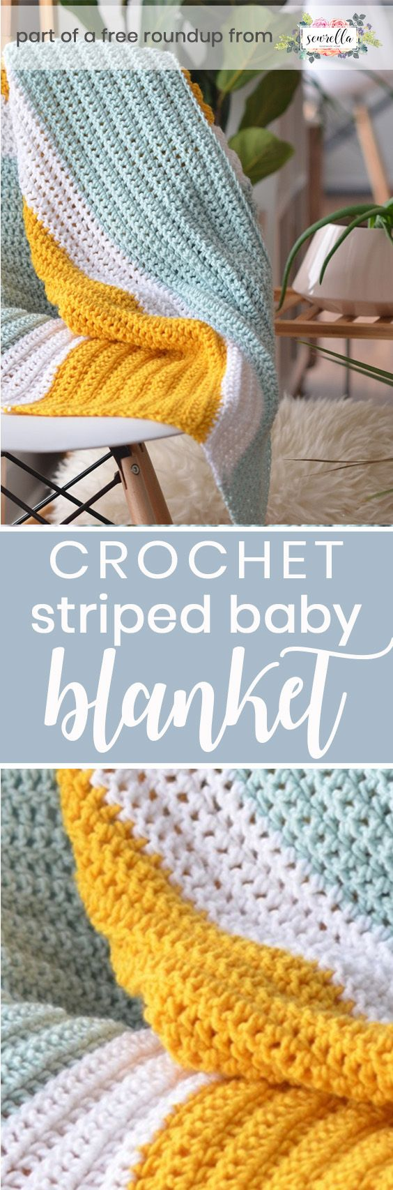 Get the free crochet pattern for this simply stripes baby blanket from  M.E. Russell featured in my gender neutral baby blanket FREE pattern roundup!