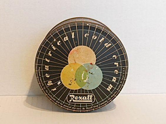 Vintage tin, Rexall theatrical cold cream tin, vintage art deco can
