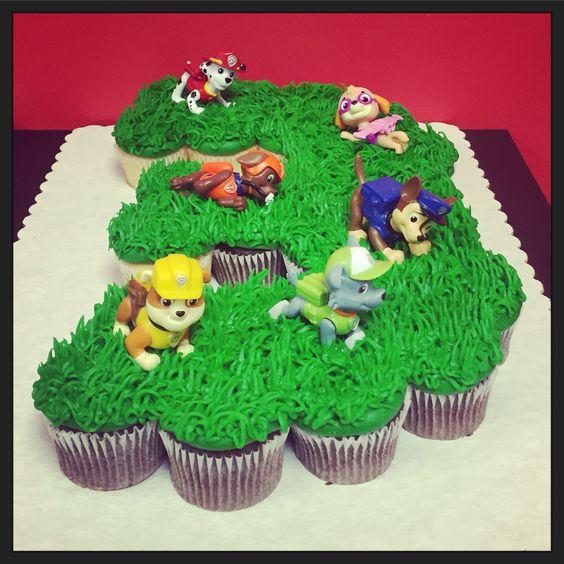 paw patrol cake and cupcakes