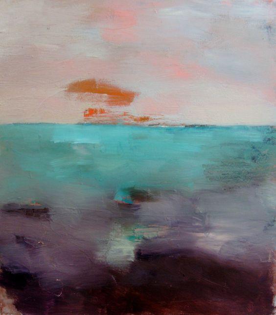 Orange and Purple Landscape, Original oil painting on paper, 10 x 11. $50.00, via Etsy.
