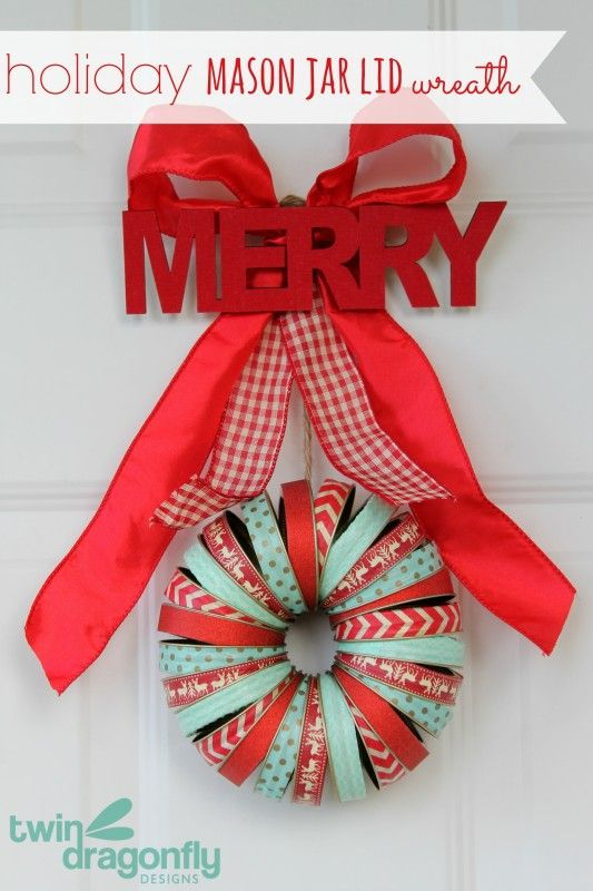 This colorful wreath is made out of Mason Jar Lids!