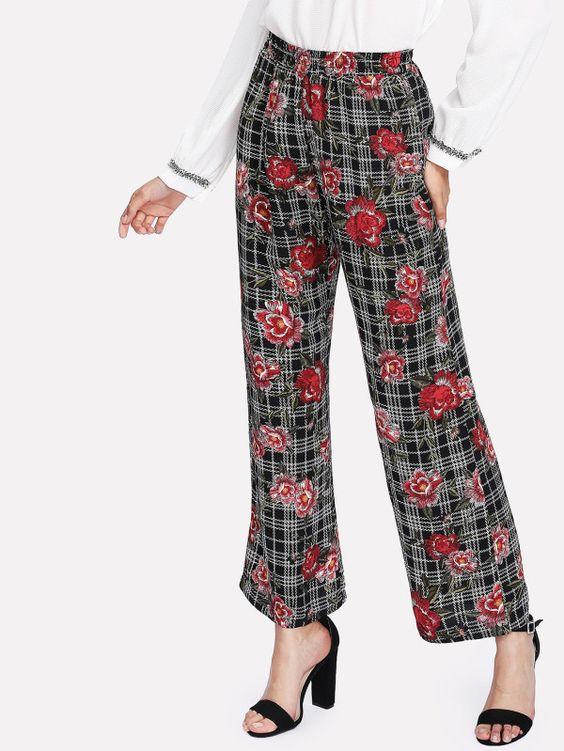 Mixed Print Straight Leg Pants -SheIn(Sheinside)